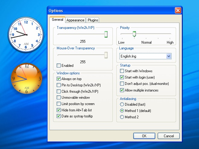 ClocX screenshot - freeware analog clock for Windows desktop